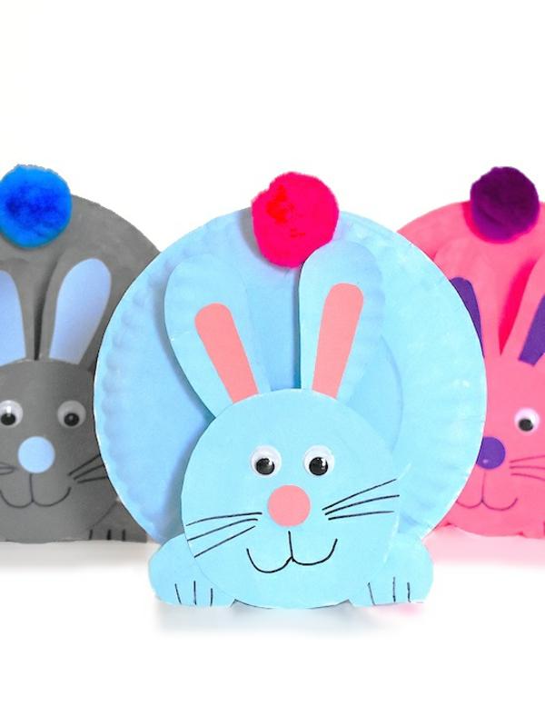 Mit Kindern basteln Bastelideen für Kleinkinder Osterhasen aus Papptellern
