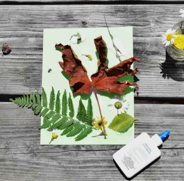 Mit Kindern basteln Collage mit Naturmaterialien Bastelideen für Kleinkinder