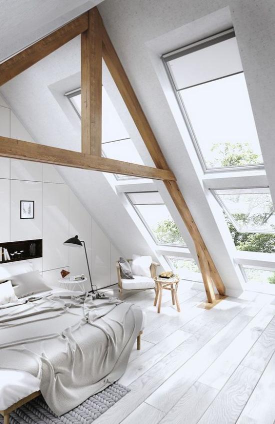 Moderne schräge Dachfenster im Schlafzimmer viel Romantik in den Raum einführen