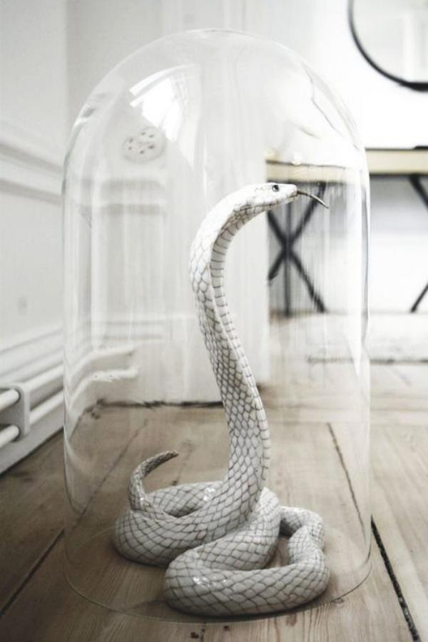 Weiße Halloween Deko Ideen gruseliger Raumschmuck Schlange unter Glasdeckel