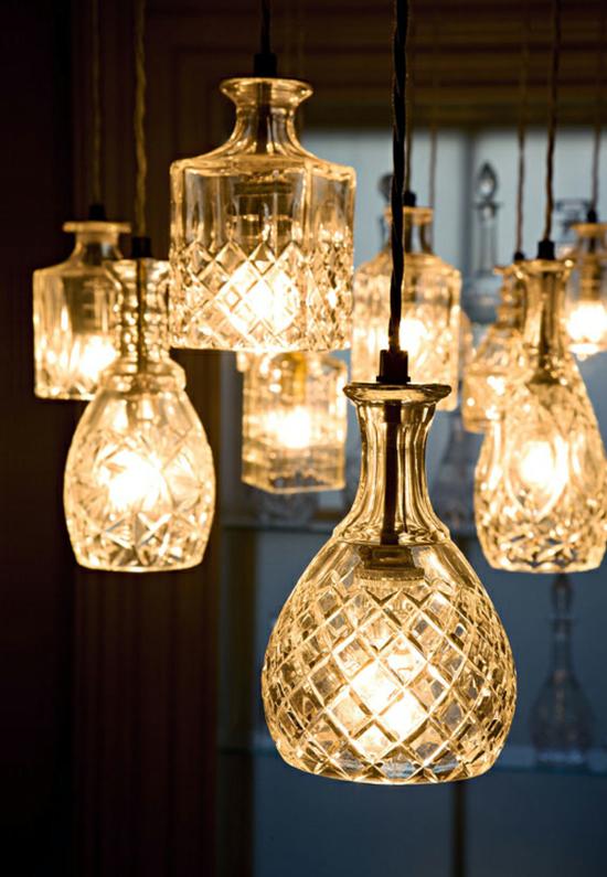 alte gläser lampenschirm basteln