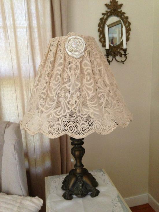 antiken lampenschirm basteln spitzen gardine