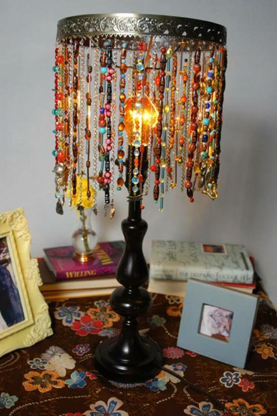 boho stil lampenschirm basteln bunte perlen