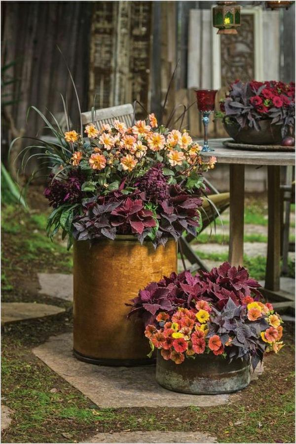 herbstdeko garten kübelpflanzen schöne herbstfarben essbereich garten
