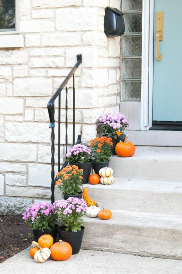 herbstdeko garten topfpflanzen eingang dekorieren
