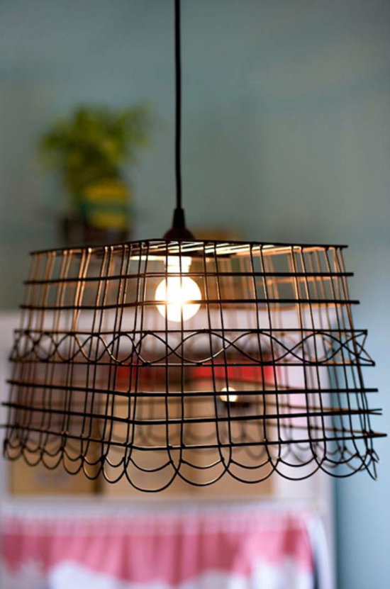 industriellen lampenschirm basteln aus metallkorb