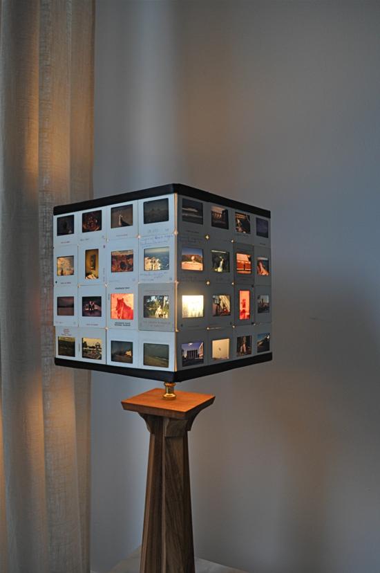 lampenschirm basteln aus alten dias