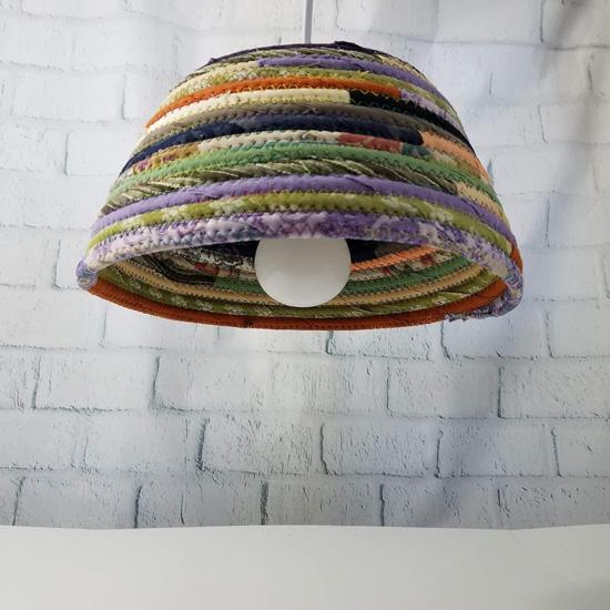 lampenschirm basteln boho stil stoffresten