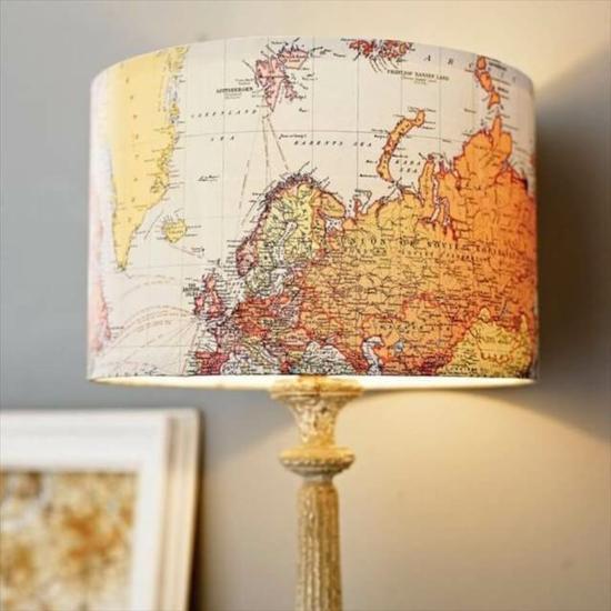 lampenschirm basteln mit alten landkarten