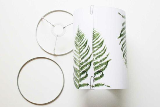 lampenschirm basteln mit papier farnblättern