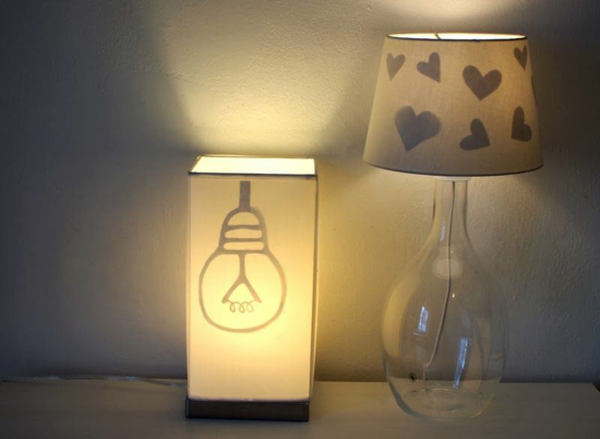 lampenschirm basteln stoff papier