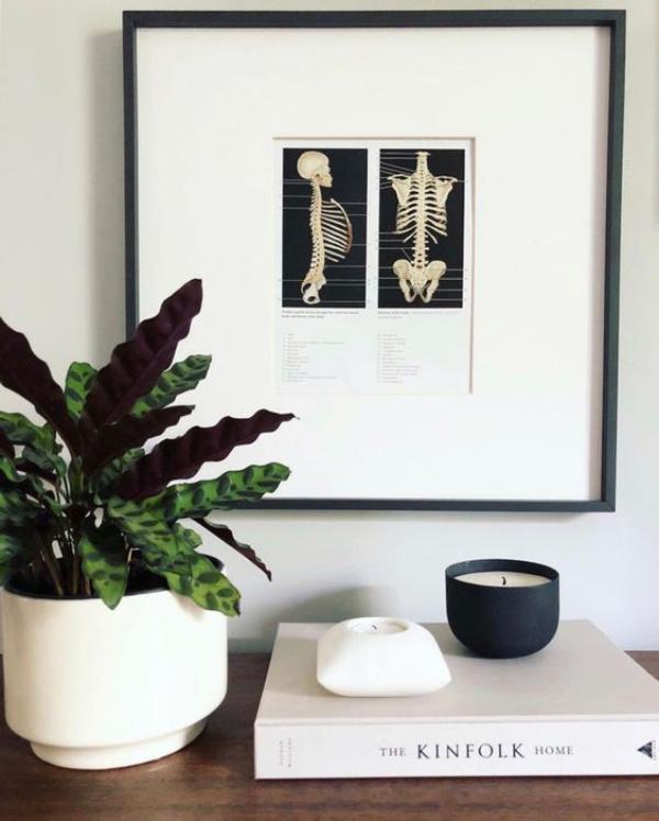 minimalistische Halloween Deko Wandbild Skelett immergrüne Topfpflanze weiße und schwarze Kerze