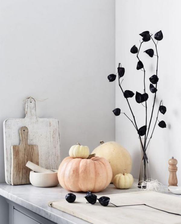 minimalistische Halloween Deko minimalistisches Arrangement mit Kürbissen Physalis Zweige schwarz