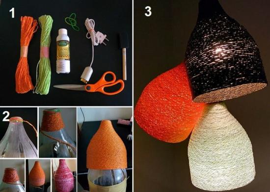 pet flaschen jute lampenschirm basteln