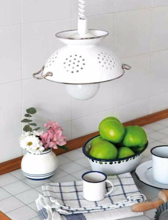 schicken lampenschirm basteln mit küchensieb