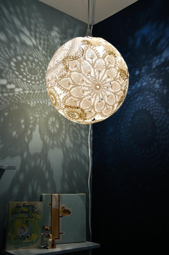 spitzendeckchen lampenschirm basteln