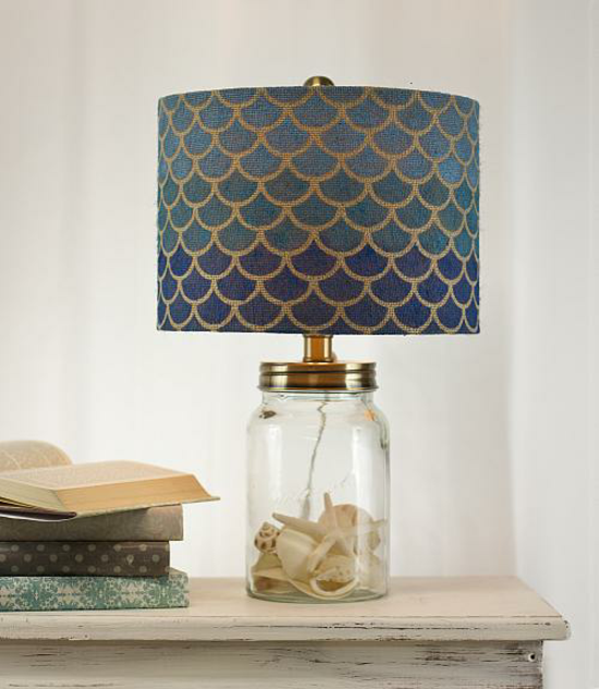 stoff lampenschirm basteln maritimes design