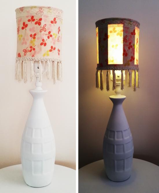 stoffreste verwerten lampenschirm basteln