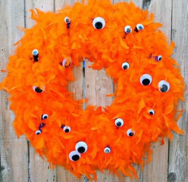 türkranz halloween federkranz orange wackelaugen