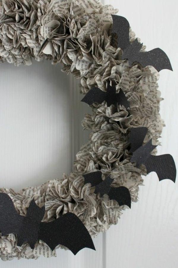 türkranz halloween papierkranz schwarze fledermäuse