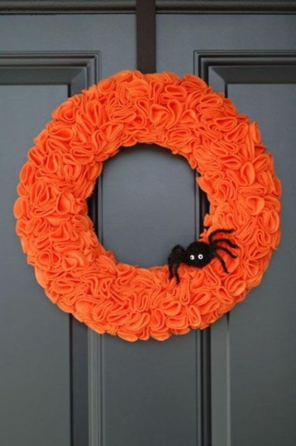 türkranz halloween stoffkranz schwarze spinne