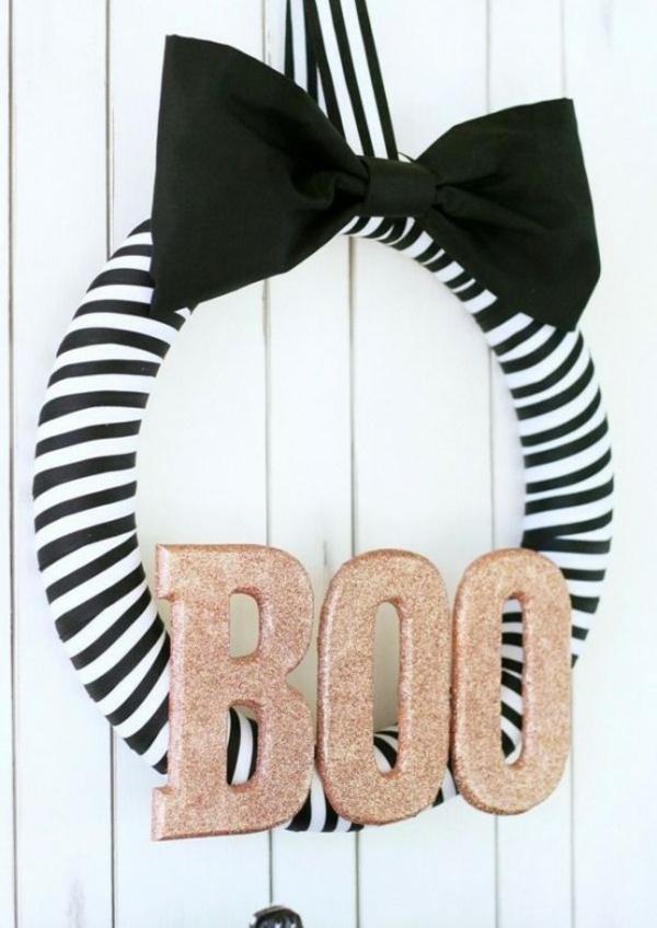 türkranz halloween streifenmuster schwarz weiß
