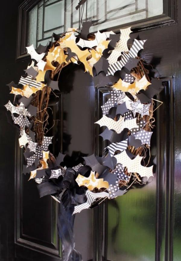 türkranz halloween weidenkranz papier fledermäuse dekoriert