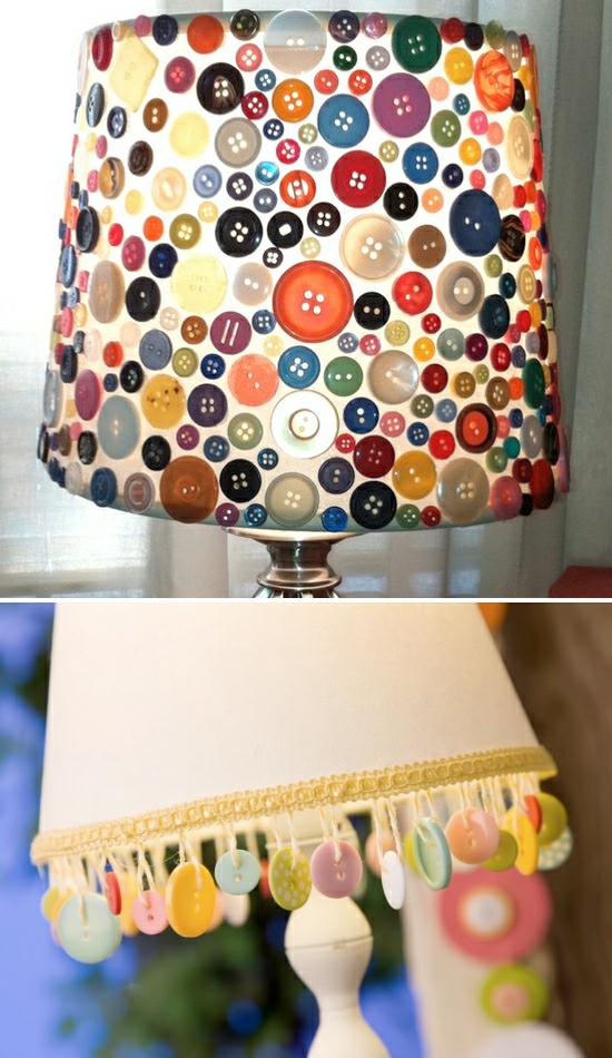 upcycling lampenschirm basteln mit knöpfen