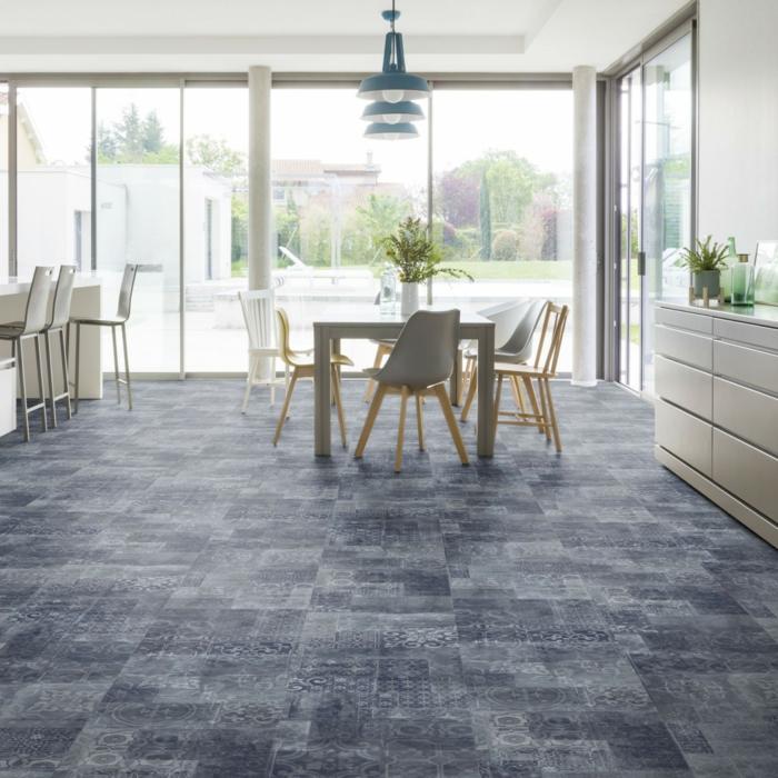 vinylboden küche baige blau