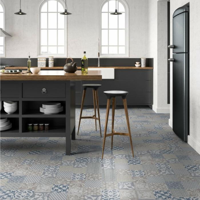 vinylboden küche grau