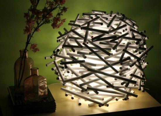 vogelnest lampenschirm basteln aus papier