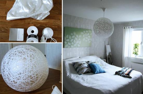 weißen lampenschirm basteln mit ball